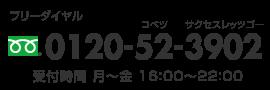 お問合せ:フリーダイヤル0120-52-3902 受付時間:月〜金 16:00〜22:00
